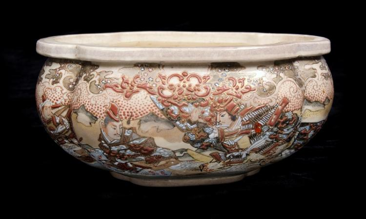 Early Japanese Satsuma Bowl.  Samurai figures & blossom decoration. Lobed rim. Hand signed character mark to base.