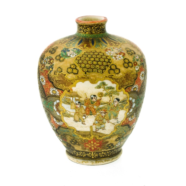 Miniature Japanese Satsuma Vase. Court scenes in 2 cartouches, gilt highlights. Red mark to base.