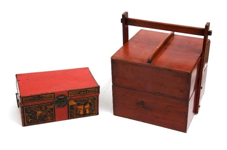 2 Var Chinese Boxes. Incl. 2 level lidded wooden carrying container; & decorated parchment box (as inspected).
