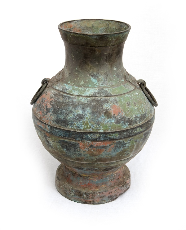 Large Oriental Bronze Vessel. Double ring handles.