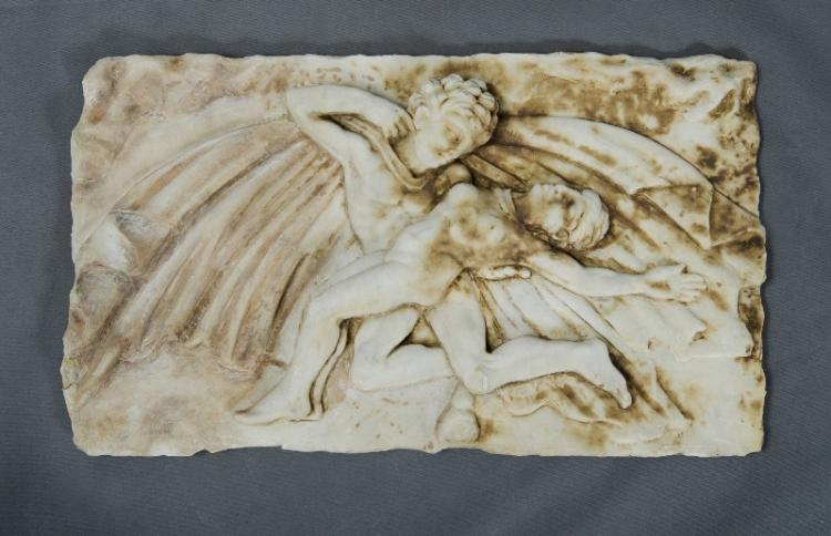 Indian? Carved Marble Plaque. Dancing couple.