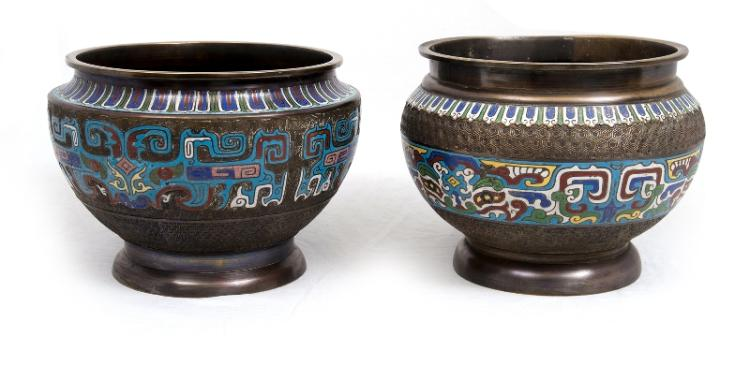 2 Early Chinese Champleve Jardinieres.  Red, blue, green & white decoration.