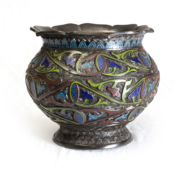Early Chinese Champleve Vase.  Green, blue & red decoration. Break to base & dent to top.