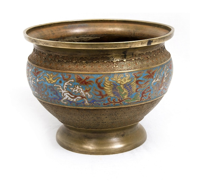 Early Chinese Champleve Jardiniere. Blue, white & red decoration.