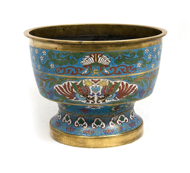 Early Chinese Champleve Jardiniere. Symbolic decoration on blue ground.