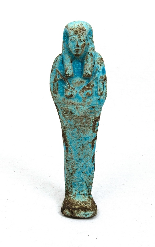 Egyptian Ushabti. Blue glazed pottery. Collected c1960.