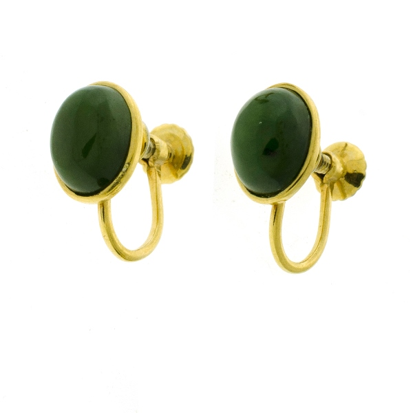 Pr Chinese Yellow Gold & Greenstone Earrings.  Screw-on fittings.