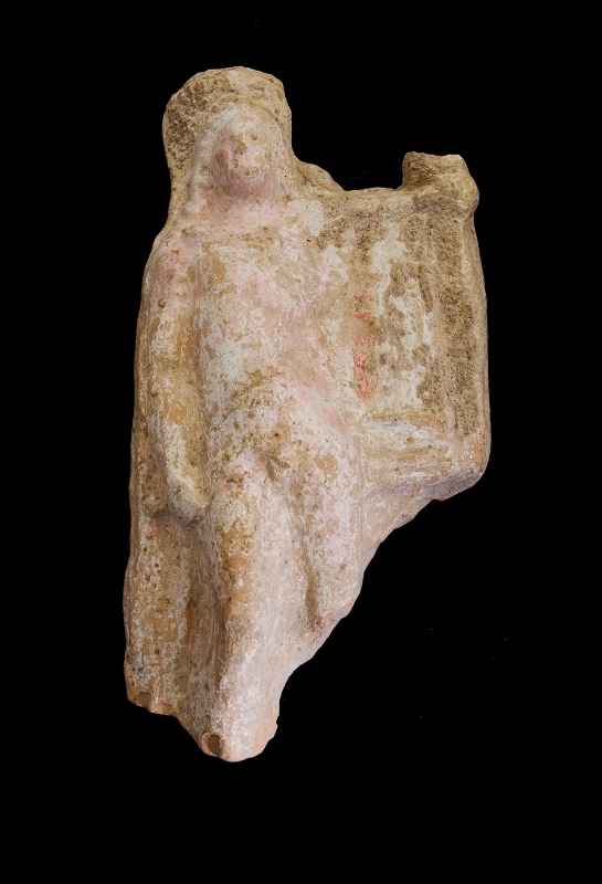 Antique Grecian Terracotta Figure. Remnants of original pigment.