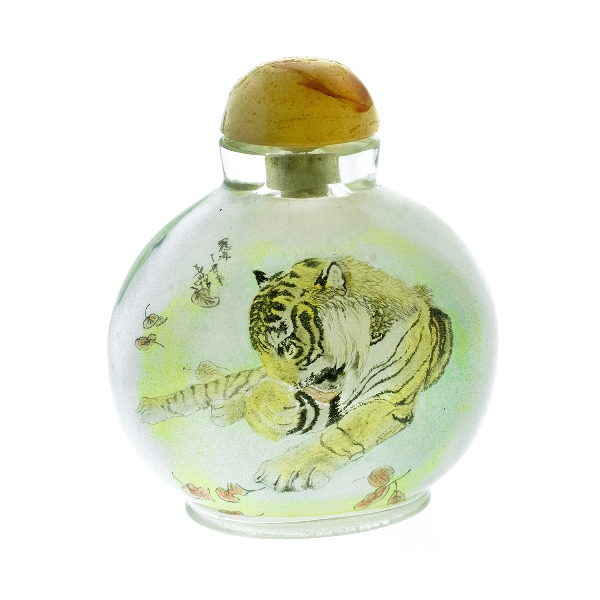 Chinese Crystal Snuff Bottle.  Inside painted, lion & tiger decoration.  Agate topped stopper, (top loose).