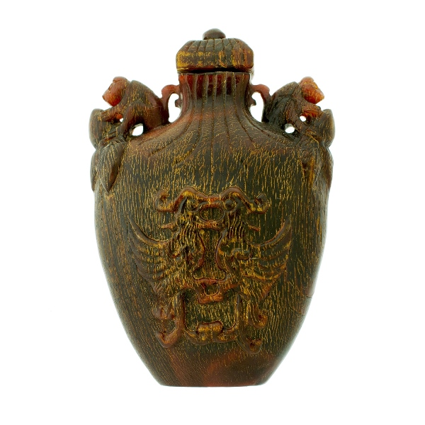 Chinese Carved Horn Snuff Bottle. Carved birds to both sides.