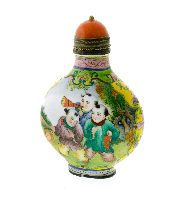Chinese Enamel Snuff Bottle.  Enamelled figures decoration.  Red stone stopper. Character marks to base.