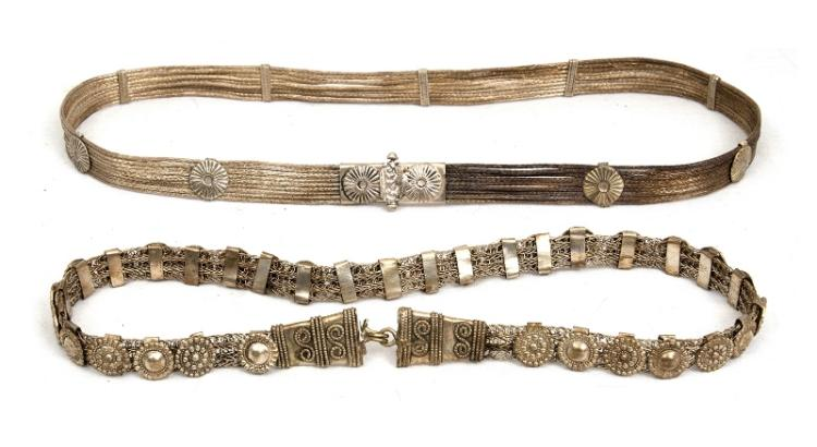 2 Var Eastern Silver Ladies Belts. Each with extensive silver wire connections & decoration.