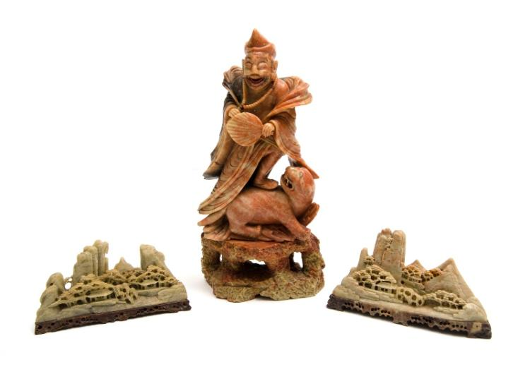 3 Chinese Carved Hardstone Items. Incl. deity figure; & 2 landscapes.