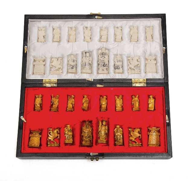 Chinese Boxed Chess Set.  All figures intact.