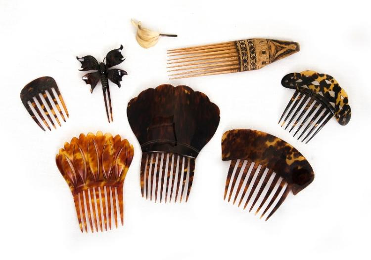 8 Early Tortoiseshell etc Hair Combs & Pins.
