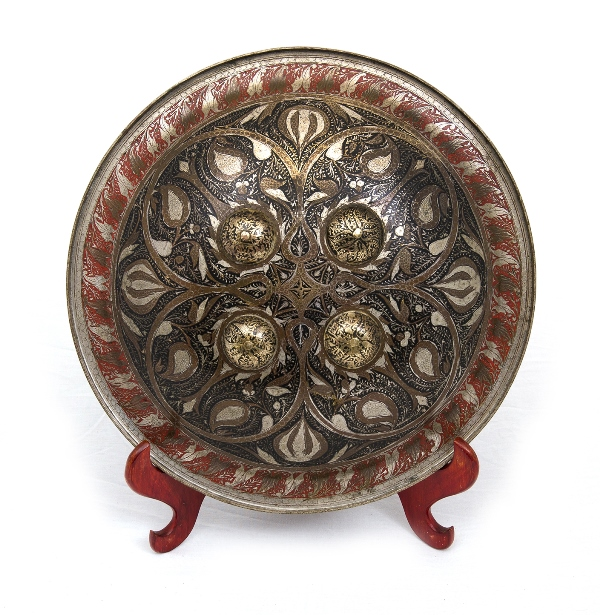 Early Indo-Persian Shield. 4 bosses, inlaid foliage design. Likely 18th C. Provenance: Bungan Castle Museum collection.