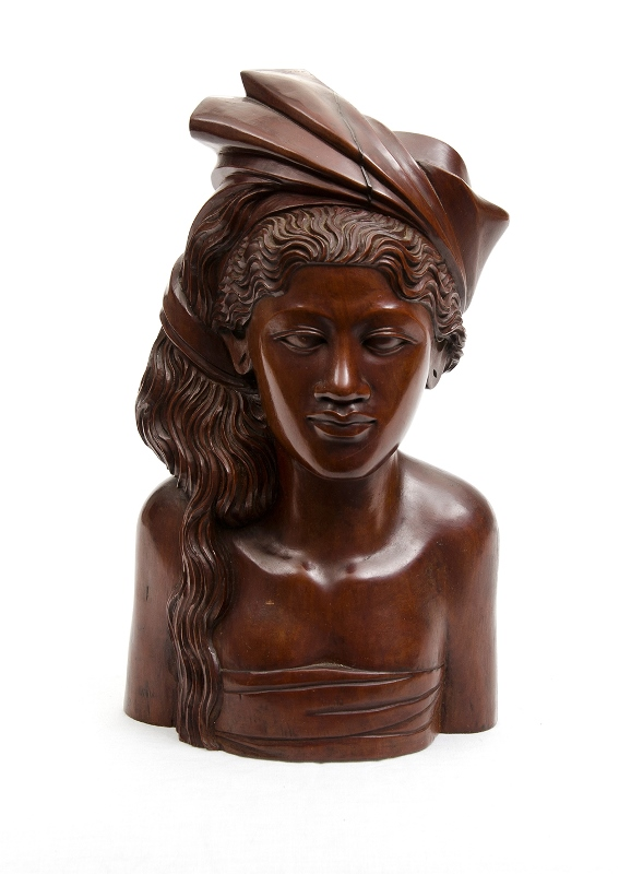 Bali Carved Wood Figure. Bust of a woman, inscribed with carver's name (Arrilman?) & Bali to base.