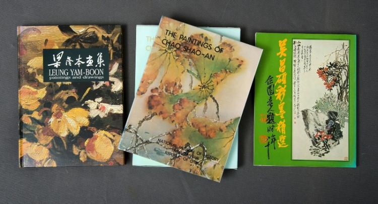 BOOKS (3),Chinese Art.  Incl. 'Leung Yam-Boon, Paintings & Drawings,' c1990, hand signed by artist; Chinese Catalogue of Art, 1982; & 'The Paintings of Chao Shao-An,' 1980. Provenance: Estate Late Allan Waite.