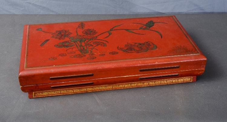 Early Chinese Red Lacquer Marriage Box. Decorated with 'Yin-Yeng' pattern. Signed Certificate of Guarantee available.