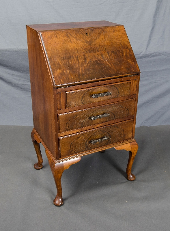 Walnut Drop Front Bureau.  Drop down front  with fitted interior of drawer & pigeon holes. 3 drawers under. Cabriolet legs.