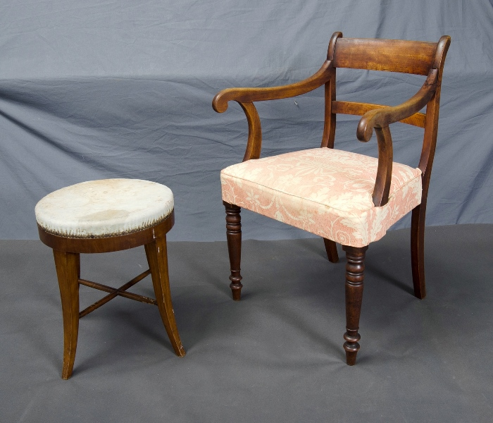 Bridge Chair & Stool.  (Faded) upholstery & restored arm to chair. Upholstery to stool worn.