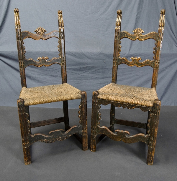 2 Early Rush Seated Hall Chairs.  Possibly 19th C.
