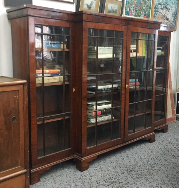 Mahogany Lawyers Breakfront Bookcase.  Four doors opening to adjustable shelves. Key available.