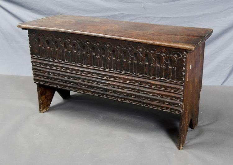 Oak Coffer. Carved decoration to front. (Split to lid).