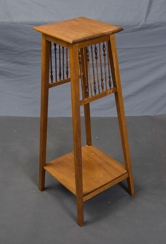 Queensland Maple Plant Stand.  Finely turned spindle decoration to 2 sides. Stamped Beard Watson. c1910.