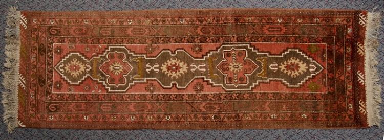 Middle Eastern Wool Runner Carpet.  Traditional design on burgundy ground.