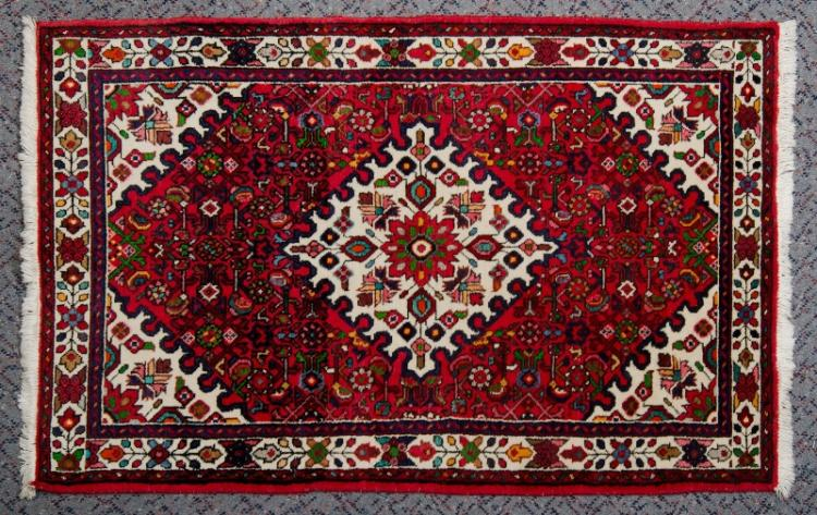 Middle Eastern Hamadan Wool Carpet.  Traditional design with burgundy background.