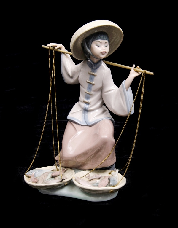 Lladro Woman Fish Vendor Figure