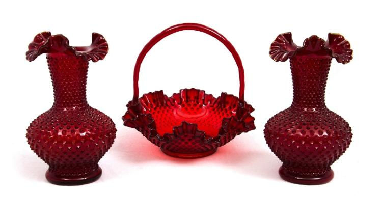 3 Var Fenton Glass Items.  Incl. pr red glass vases; & red glass handled bowl.