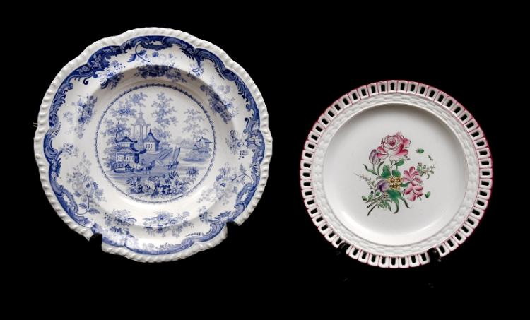 2 Var Porcelain Items. Incl. KG/Luneville plate, floral decoration, pierced rim; & blue & white bowl, pagoda pattern.