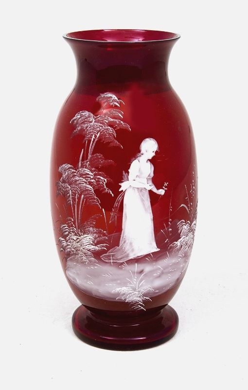 Early Mary Gregory Glass Vase. Embossed figure of woman in garden, on cranberry glass body.