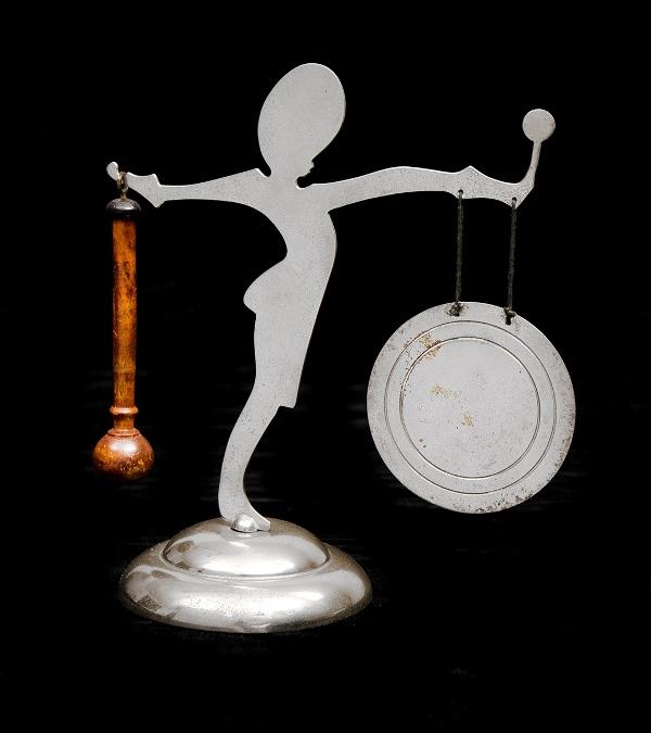 Art Deco Style Chromed Dinner Gong. Marching girl figure, with wooden striker.