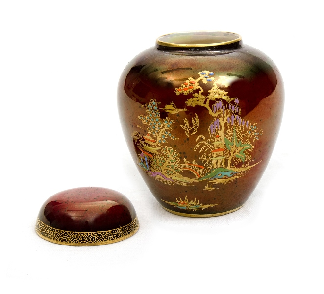 Crown Devon Porcelain Lidded Urn. Pagoda decoration on maroon ground. Gilt highlights. Stamped to base.