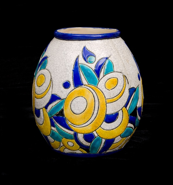 Keramis Belgium Porcelain Vase.  Blue, green & yellow stylised decoration. Stamped to base. Possibly Charles Catteau design. Restored crack to body.