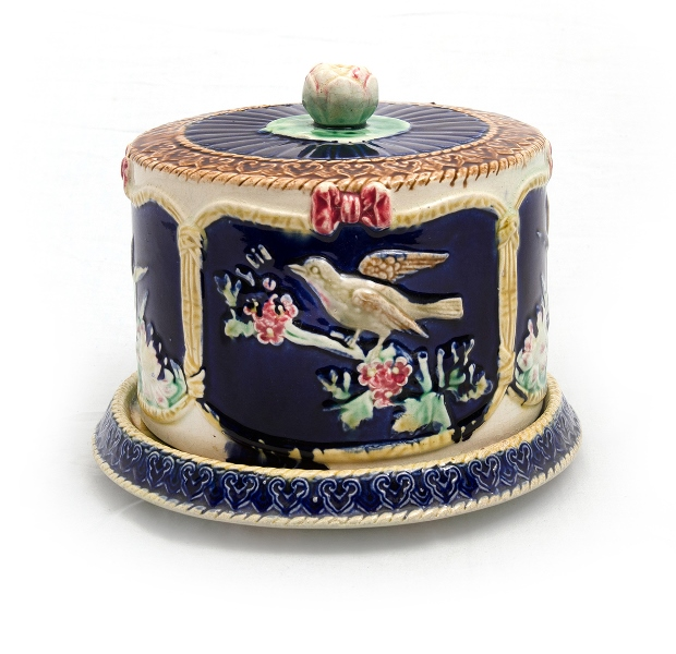 Majolica Pottery Cheese Dome & Stand. Moulded panels decorated with birds & lily ponds.