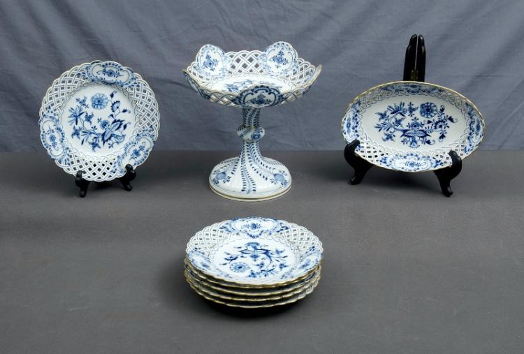 Early 8 Pce Meissen Dessert Set.  Incl. stemmed comport; serving dish; & 6 plates. Blue & white floral pattern. Pierced rims.