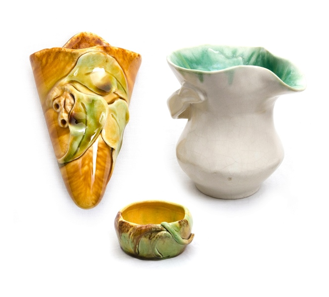 3 Var Australian Studio Pottery Items. Incl. Florenz wall vase, gumnut & leaf decoration; Hilda white vase, green glaze interior, stylised branch handle; & small bowl, inscribed WB to base.