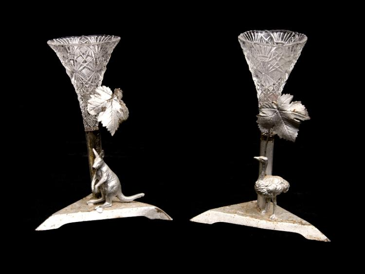 Pr Early Australian Tinplate & Crystal Vases. Silver painted kangaroo & emu figures with insert vases.