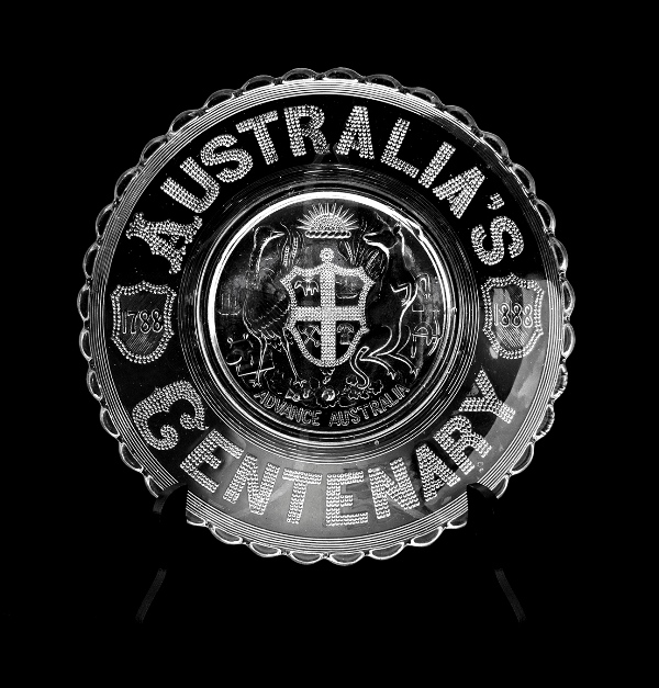 Australia's Centenary Glass Dish.  '1788-1888. Advance Australia.'