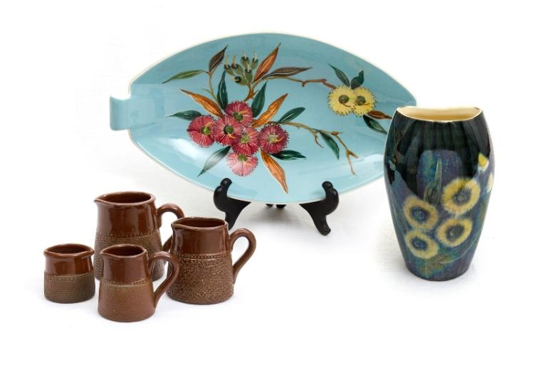 6 Var Australian Ceramic Items. Incl. green glaze dish, wildflower decoration; lustre vase, wattle decoration; & graduated set 4 small Fowler jugs.