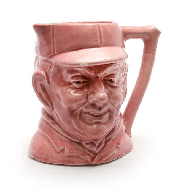 Pink Glazed Earthenware Character Jug c1930s.