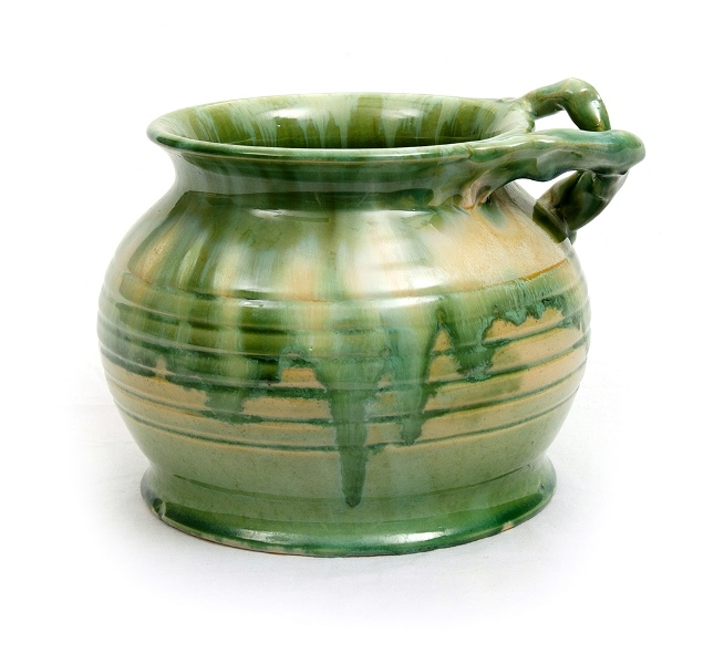 Remued Green Drip Glaze Vase.  Stylised tree branch handle. Inscribed with #303 to base. Original 'REMUED' label attached.