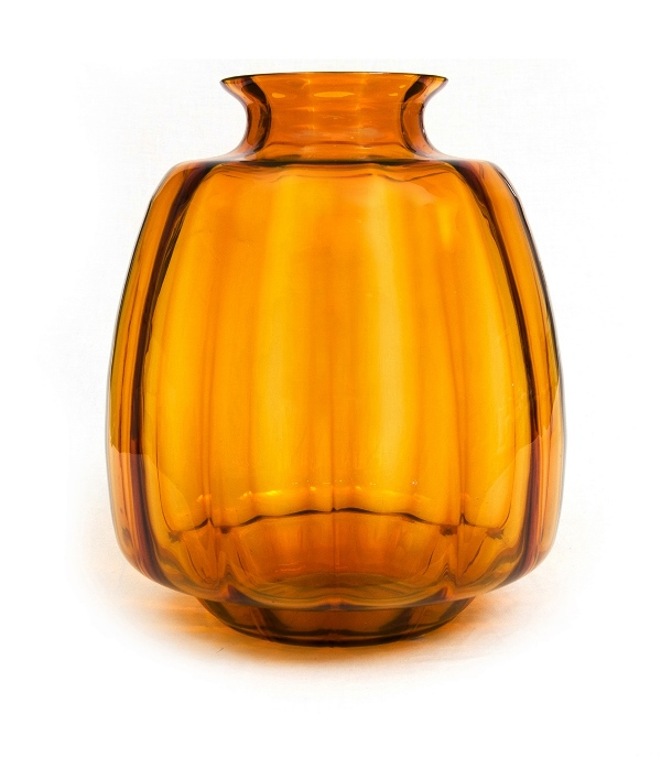Leerdam Amber Glass Andries Copier Vase.  Acid etched monogram 'CL' to base. c1928.
