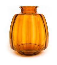 Leerdam Amber Glass Andries Copier Vase.  Acid etched monogram 'CL' to base. c1928.