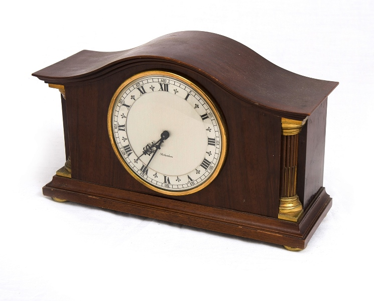 Rotherham Wood Cased Mantel Clock. Dedication plaque verso dated 1956. Needs service.