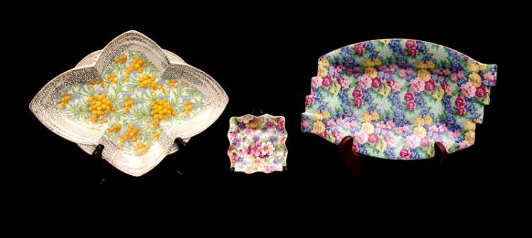 3 Var English Porcelain Plates. Incl. Empire, wattle decoration; Royal Winton, Julia; & James Kent, Du Barry pin dish.